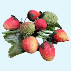 CHARMING Antique Sugared Millinery Fruit Berries,Vintage Hat Trim, Perfect For Doll Hats,Collectible Millinery Trims