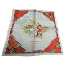 RESERVED Vintage SCOTTISH SOUVENIR HANDKERCHIEF Scotland Souvenir Hanky,Robert Burns Day Decor,Tartan Border Hankie,Outlander Decor,Vintage Hankies