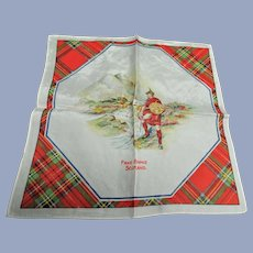 Vintage SCOTTISH SOUVENIR HANDKERCHIEF Scotland Souvenir Hanky,Robert Burns Day Decor,Tartan Border Hankie,Outlander Decor,Vintage Hankies