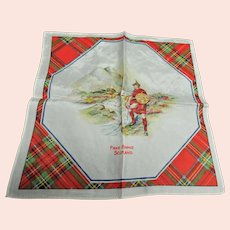 Vintage SCOTTISH SOUVENIR HANDKERCHIEF Scotland Souvenir Hanky,Robert Burns Day Decor,Tartan Border Hankie,Outlander Decor,Vintage Hankies