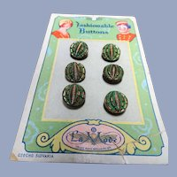 LOVELY 20s Antique BUTTONS,Set of 6 Czech Glass Green Gold Tiny Buttons on Card,Art Deco Flapper Era,DOLL Size,Collectible Vintage Buttons