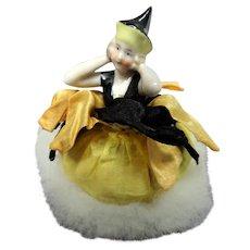 BEAUTIFUL Swan Down Feather Powder Puff,Art Deco Porcelain Handle Pierrot Lady,Figural Half Doll Powder Puff,Half Figurine,Vanity Items