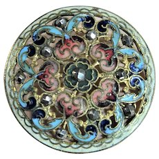 BEAUTIFUL Antique Button,Champleve Enamel,Cut Steel,Lace Like Openwork,Pinks Blues,Collectible Vintage Buttons