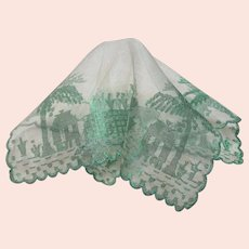 1950s VINTAGE Organdy Hanky Hankie Handkerchief,Pretty Green Scenic Embroidery,Scalloped Edge,Collectible Hankies