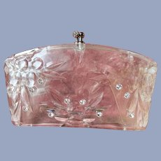 FABULOUS Vintage Carved Lucite Clutch Purse Transparent Bag Collectible Purses