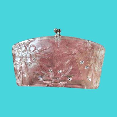 FABULOUS Vintage Carved Lucite Clutch Purse Transparent Bag Collectible Purses