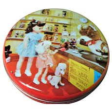 RARE Vintage Doll Candy Store Tin Box,Teddy Bear,Poodle Dog,Arthur Holland Toffees,Candy Tins,Doll Collectible,Candy Box,Collectible Tins