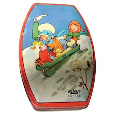 Vintage 1930s RILEYs Tin Box,Kate Greenaway Style,Toffee Tin,British Candy,English Tin Box,Cute Children,Winter Sled Tin,Collectible Tins