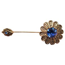 Vintage LOVELY Hat Pin Stick Pin,Sparkling Blue Glass Stones and Filigree Gold Tone Metal,Perfect For Cloche Hats,Collectible Pins