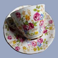 BEAUTIFUL Teacup and Saucer Royal Stafford English Bone China,PINK Chintz Flowers,Vintage Cup and Saucer,Tea Time China, Collectible Teacups