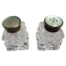 LOVELY Antique Cut Crystal Salt and Pepper Shakers,Silver and Mother of Pearl Tops,Elegant Dining,Wedding Gift,House Warming Gift