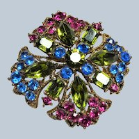 SPARKLING Art Glass Rhinestone Brooch,Beautiful Glass Brooch,Pink,Blue,Green Faceted Stones Pin,Collectible Vintage Mid Century Jewelry