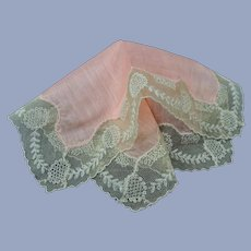BEAUTIFUL Antique French Lace Hanky,Pink Hankie,Beige Wide Lace Handkerchief,Tambour Lace, Art Deco Hankies,Flapper Era,Collectible Hankies