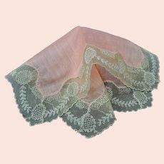 BEAUTIFUL Antique French Lace Hanky,Pink Hankie,Beige Wide Lace Handkerchief,Tambour Lace, Art Deco Hankies,Flapper Era,Collectible Hankies