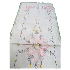 VINTAGE Art Deco Farmhouse French Country Table Runner,Buffet Scarf,Table Centerpiece,Kitchen Linens,Hand Embroidery Work Lace,French Cottage Linens