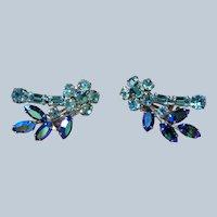 GLAMOROUS Vintage 50s SHERMAN Earrings,Swarovski Peacock Blue Aurora Borealis,Baby Blue Glass Clip On Earrings,Collectible Jewelry