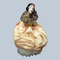 BEAUTIFUL Swan Down Feather Powder Puff,Art Deco Porcelain Handle Flapper Lady,Figural Half Doll Powder Puff,Half Figurine,Vanity Items