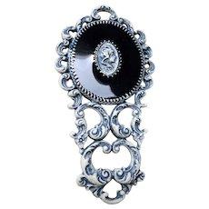 LOVELY Vintage Hand Mirror,Enamel Nouveau Design Mirror,Purse Size,Vanity Mirror,Small Vintage Mirror,Doll Prop,Mid Century Mirror,Collectible