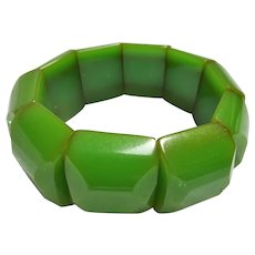 STRIKING Bakelite Early Plastic Chunky Bracelet,Faceted Cut,Elastic Bracelet,Vintage Wide Bracelet, Collectible Early Plastic Jewelry