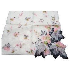 BEAUTIFUL Vintage Printed Leaves Hanky,Pinks Grays,Leaf Handkerchief To Frame,Collectible Hankies,1950s Hankies, 1950s Hanky, 1950s Handkerchiefs, Mid Century Hankies