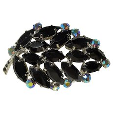 LOVELY Vintage Sparkling Black Glass and Aurora Borealis Brooch,Large Domed Leaf Design, Eye Catching Brooch,Collectible Mid Century Jewelry