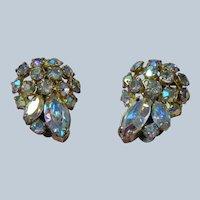 SPARKLING Vintage 50s SHERMAN Earrings,GLITTERING Aurora Borealis Earrings,Dazzling Rhinestone Clip Ons,Sherman Earrings,Collectible Jewelry