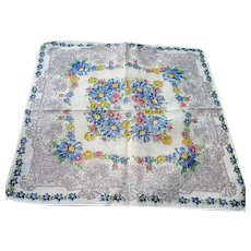 BEAUTIFUL Vintage Printed Floral Hanky Colorful Blue Flowers Handkerchief To Frame Collectible Hankies,1950s Hankies, 1950s Hanky, 1950s Handkerchiefs, Mid Century Hankies