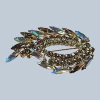 GLITTERING Glass Topaz Rhinestones Brooch,Prong Set,Brilliant Rhinestones,Dazzling Swarovski Crystal,Mid Century Jewelry,Collectible Vintage Jewelry