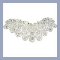 BEAUTIFUL Antique IRISH Crochet Lace, Lace Collar,Detailed Victorian Needle Work,Irish Crochet Needle Lace,Bridal Lace,Doll Lace,Collectible Antique Lace