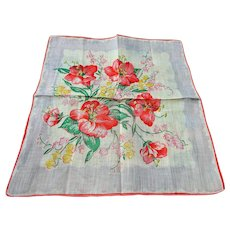 COLLECTIBLE Vintage Printed Floral Hanky Colorful Flowers Handkerchief To Frame Collectible Hankies,1950s Hankies,1950s Hanky,1950s Handkerchiefs,Mid Century Hankies