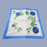COLLECTIBLE Vintage Printed Floral Hanky,Blue Roses Handkerchief To Frame,Monogram P,Collectible Hankies,1950s Hankies,1950s Hanky,1950s Handkerchiefs,Mid Century Hankies