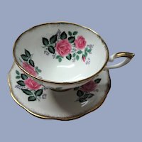 VINTAGE Royal Standard English Bone China Sumptuous Wide Teacup and Saucer Lush PINK Roses Pattern Lavish Gold Trim Pedestal Cup and Saucer