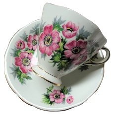 CHEERFUL Teacup and Saucer,WINDSOR English Bone China,Sweet PINK Flowers,Vintage Cup and Saucer, Bridal Luncheons Showers Tea Parties,Gifts