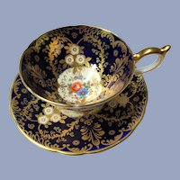 VINTAGE Aynsley English Bone China Sumptuous Cabinet Teacup and Saucer Cobalt Blue Lavish Gold Pattern ROYALTY Luxurious Cup and Saucer