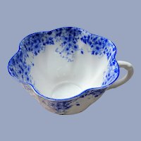 BEAUTIFUL Antique Art Deco Shelley TeaCup DAINTY BLUE Fluted Cup,English Fine Bone China,Collectible Vintage Teacups