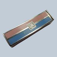 ART DECO Lipstick Container,1920s Bourjois Enamel Metal Mechanical Case,Lipstick Tube Holder,Pink Blue Silver,Boudoir Vanity Display