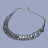 EXCEPTIONAL Elegant Necklace Brilliant Blue Aurora Borealis,Swarovski Rhinestones,Bridal Jewelry,Vintage 50s COLLECTIBLE Jewelry