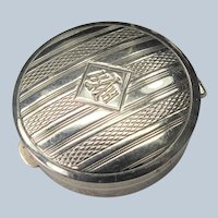 Beautiful ART DECO Powder Compact,Small Compact,Pill Box,Engraved Silver,Monogram,20s Vanity Purse,Fab Condition,Collectible Powder Compacts