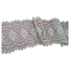 BEAUTIFUL Antique FRENCH Lace Trim,Flounce,Intricate Pattern For Bridal Dress,Dolls,Flapper Dress,Heirloom Sewing,Antique Lace Textiles