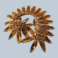 Vintage SHERMAN Signed Glittering Golden Topaz Brooch,Prong Set,Brilliant Rhinestones,Dazzling Swarovski Crystal,Collectible Jewelry
