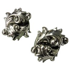 LOVELY Mid Century Earrings Scrolling Leaves Silver Metal ,Clip On Earrings,Collectible Vintage Jewelry