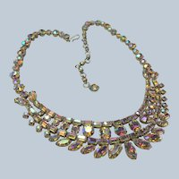 LOVELY SHERMAN Necklace,Prong Set,Aurora Borealis Brilliant Pinks Purples Rhinestones,Dazzling Swarovski Crystal,Collectible Jewelry