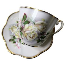 LOVELY Teacup and Saucer Salisbury English Bone China,Lush White Rose Flowers,Vintage Cup and Saucer,Tea Time China, Collectible Teacups