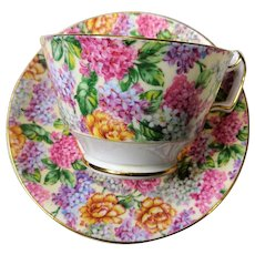 GORGEOUS Teacup and Saucer Hammersley English Bone China,CHINTZ Flowers,Vintage Cup and Saucer,Tea Time China,Collectible Teacups,Gifts