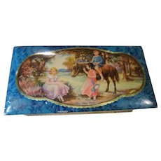 CHARMING Vintage British Tin Hinged Box, Advertising Tin, Peek Frean, English Cookie Biscuit Box,Litho Canister Tin, New Pony, Sweet Children,Collectible Vintage Tins