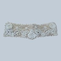 BEAUTIFUL Antique IRISH Crochet Lace, Lace Collar,Highly Detailed Victorian Needle Work,Irish Crochet Needle Lace,Collectible Antique Lace