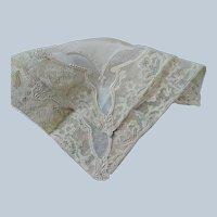 BEAUTIFUL Art Deco French Lace Handkerchief,Silk Hanky,Perfect Bridal Hankie,Wedding Hankies, French Decor,Vintage Collectible Hankies