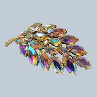 GORGEOUS Vintage AB Crystal Rhinestone Large Brooch, Amazing Sparkling Colors, Mid Century Brooch, Collectible Vintage Jewelry