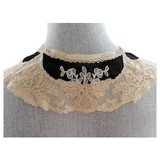 Antique Art DECO French Collar,Tulle Net Lace Embroidered Flowers Black Chiffon,Dress Applique, Flapper Era, Gatsby, Bridal Vintage Clothing