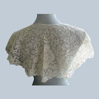 ART DECO Huge 1920s-30s Cape Style Lace Collar,Bertha Collar,Embroidered Flowers,Flapper Era Lace,Vintage Clothing,Bridal Lace,French Lace